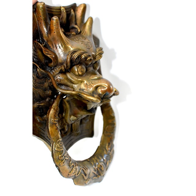 Vintage Medium Asian Dragon Door Knockers- a Pair For Sale - Image 10 of 13