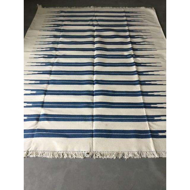 "Dhurrie Rug Custom Handmade in India - 72"" x 99"" - Image 3 of 10"