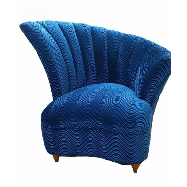 Boho Chic Bohemian Blue Velvet Chairs - a Pair - Image 2 of 3