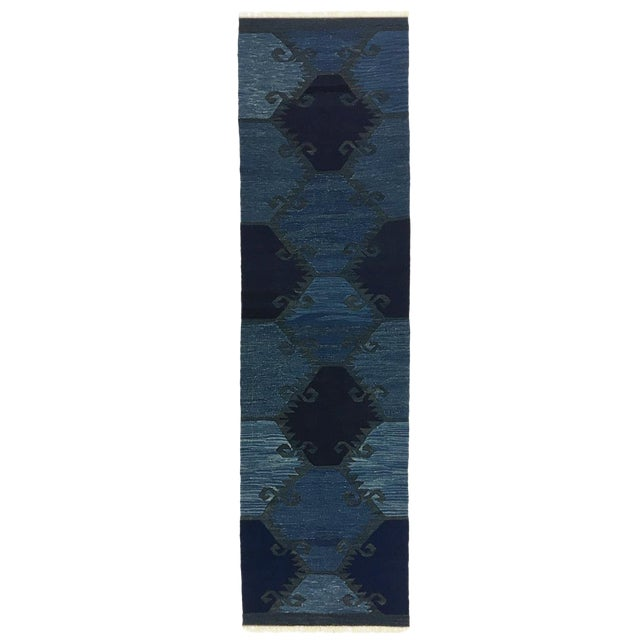 Rug & Relic Indigo-Dyed Yeni Kilim Runner | 2'7 X 9'9 For Sale