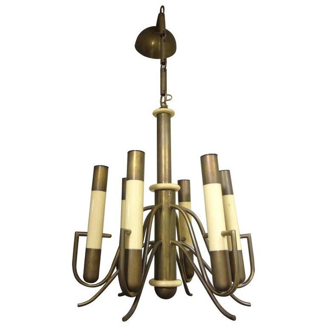 Italian Brutalist Brass and Bakelite Chandelier by Nucleo Forme For Sale - Image 13 of 13