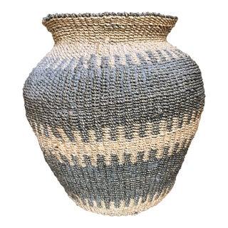 Vintage Gray Woven Basket For Sale