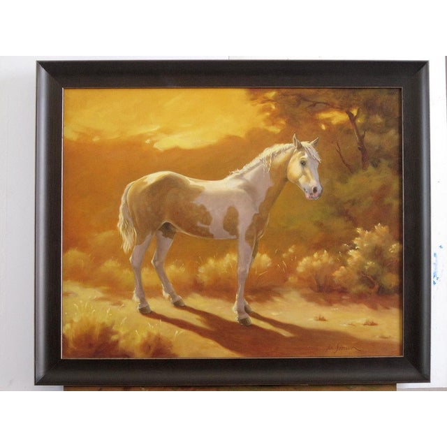 """Ute Simon """"Sunset Over Moon"""" Horse Painting - Image 2 of 6"""