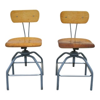 Mid Century Adjustable Industrial Drafting Stool Artist Work Chairs- a Pair For Sale