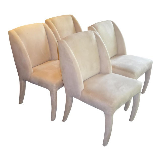 1980's Directional Scupltural Ultra Suede Modern Dining Chairs - Set of 4 For Sale
