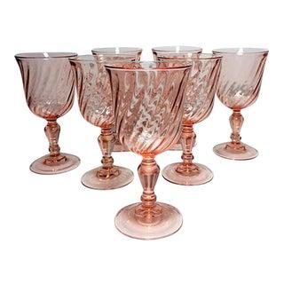 Vintage Luminarc Rosaline Pink Swirl Goblets - Set of 7