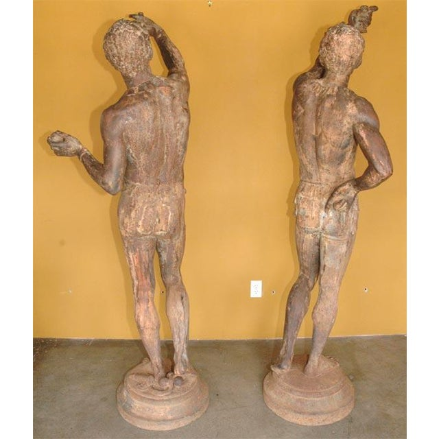 Life Size Exceptional and Rare Pair of Cast Iron Blackamoors - Image 8 of 9