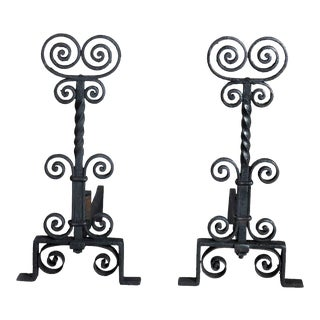 Antique Arts & Crafts Wrought Iron Yellin School Fireplace Andirons - a Pair For Sale