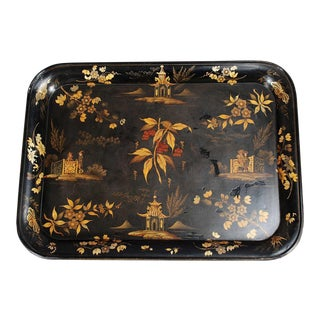 Antique Black Chinoiserie Tray by Ryton and Walton For Sale