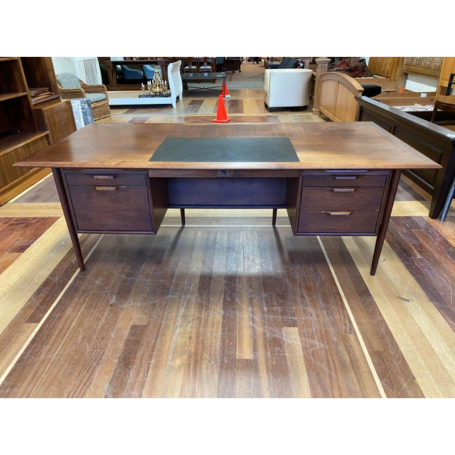 Mid 20th Century Alma Walnut + Mahogany Castilian Series Desk For Sale - Image 13 of 13