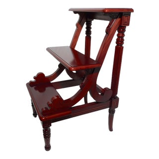 Late-20th Century English Regency Style Mahogany Library Ladder For Sale