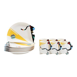 80s Fugimori Porcelain Cups and Dishes for Kato Kogei- Humoresque Collection- Set of 12 For Sale
