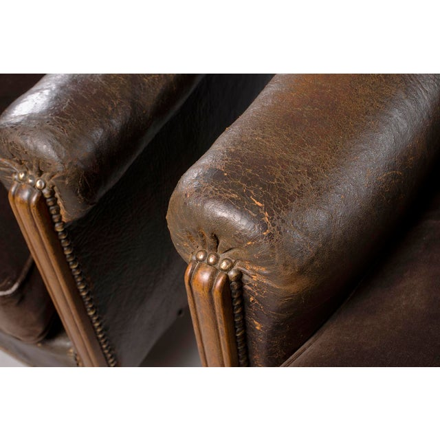 All Original French Art Deco Leather Club Chairs With Velvet Cushions-A Pair For Sale - Image 10 of 13
