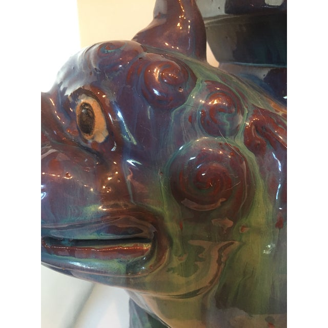 Vintage Chinese Dripped Glazed Porcelain Kylin Foo Dog