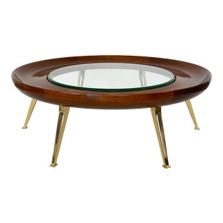 Italian Walnut and Brass Coffee Table Attributed to Gio Ponti For Sale
