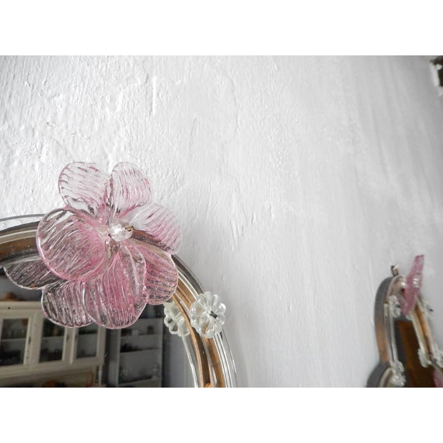 1920s Huge Maison Baguès Style Mirror with Pink Murano Flowers Sconces For Sale - Image 5 of 9