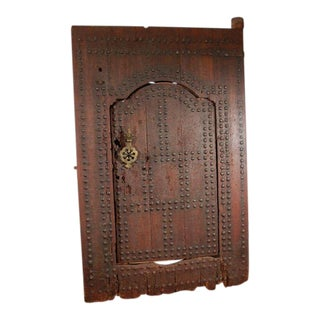 Mid 19th Century Moroccan Ryad Studded Moorish Antique Door For Sale