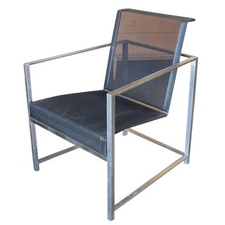 Brown Jordan Brushed Aluminum Tubular Patio Lounge For Sale