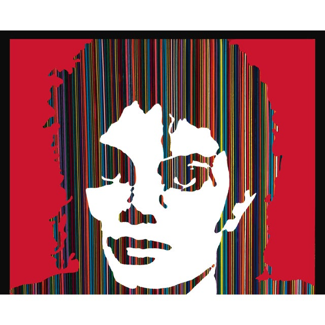King of Pop I by Mauro Oliveira, signed. Acrylic paint with automobile vinyl tapes, covered with resin on wood frame. A...