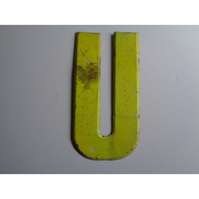 """Vintage Rustic Neon Yellow Metal Letter ''U"""" Sign For Sale - Image 4 of 4"""