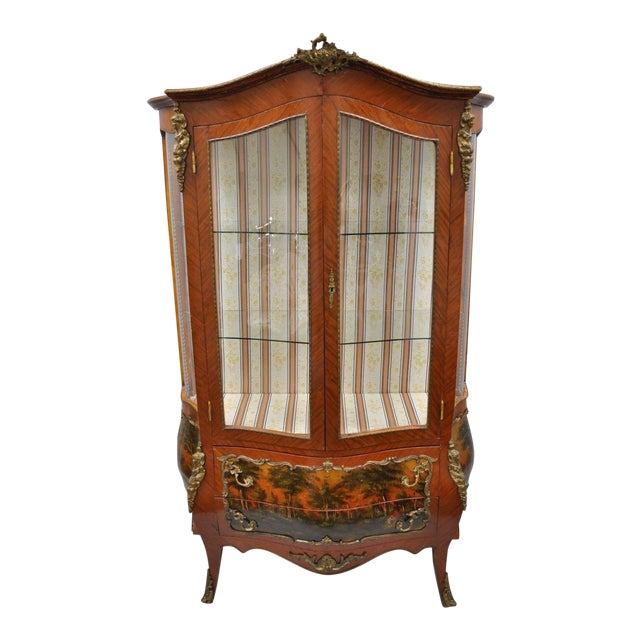 Louis XV French Style Reproduction Bombe Curio China Cabinet Vitrine ...
