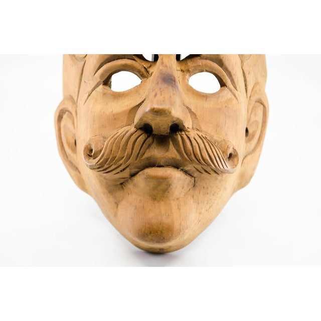Italian Wood Carved Decorative Male Masks - a Pair For Sale - Image 10 of 13