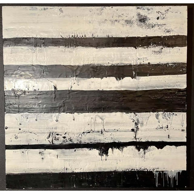 """Lynn Basa encaustic black and white stripe panel """" Mostly White"""" (signed and dated) 2012. Oil / beeswax on Board. This is..."""