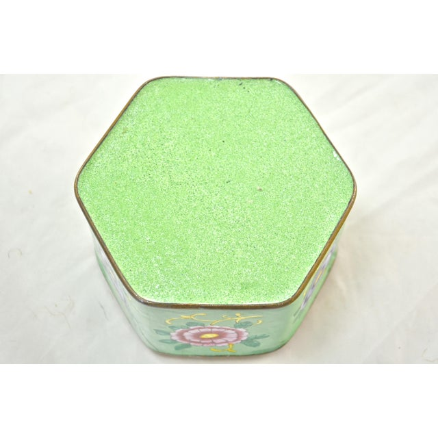 Copper Green Hexagonal Chinese Enamel Box For Sale - Image 7 of 8