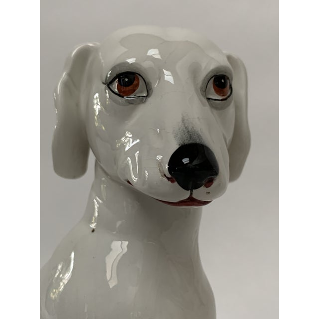 Italian Final Markdown Large Italian White Ceramic Greyhound Dog Puppy Figure For Sale - Image 3 of 13