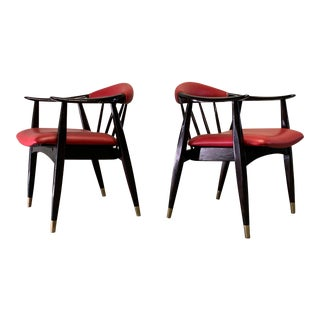 Pair of Lacquered Mid Century Modern Armchairs For Sale