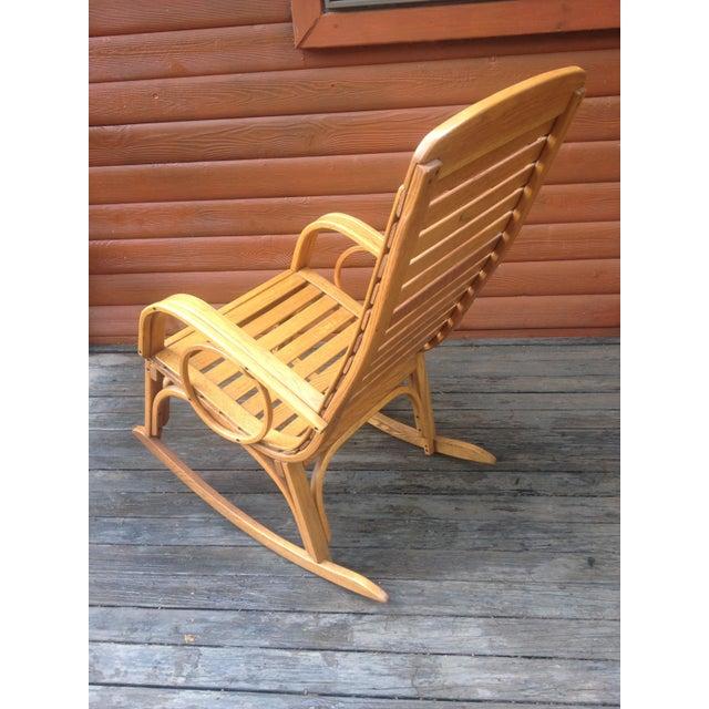1990s Vintage R. Benna Bent Oak Slat Back Rocking Chair For Sale - Image 11 of 13
