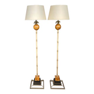 Tropical Colonial Style Floor Lamps by Maitland Smith - a Pair For Sale