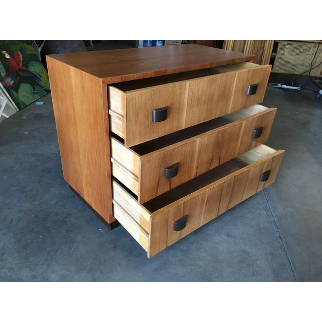 1950s George Nelson Inspired Walnut Lowboy Dressers - a Pair For Sale - Image 5 of 10