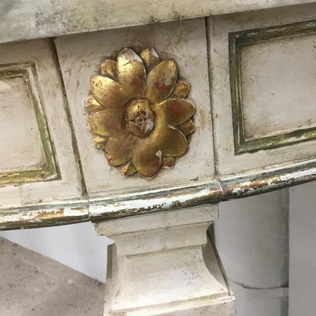 1920s Italian Painted Carved and Gilt Demi Lune Console Tables - a Pair For Sale - Image 10 of 13