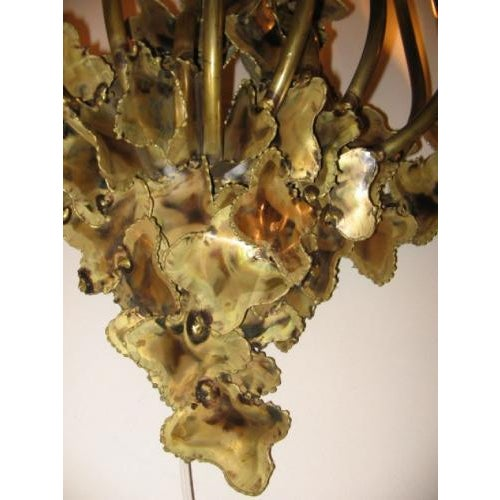 Brutalist Curtis Jere attribution Large Multi Light Wall Sculpture in Patinated Brass For Sale - Image 3 of 4