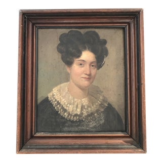 American Antique Portrait Oil Painting on Wood For Sale