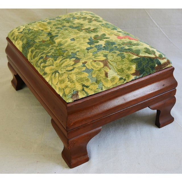Early 1900s Foot Stool w/ Scalamandre Marly Velvet Fabric - Image 9 of 11