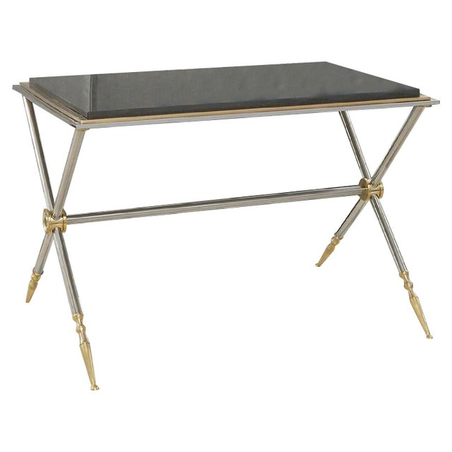 Global Views Contemporary Brass/Black Granite Cocktail Table For Sale - Image 4 of 4