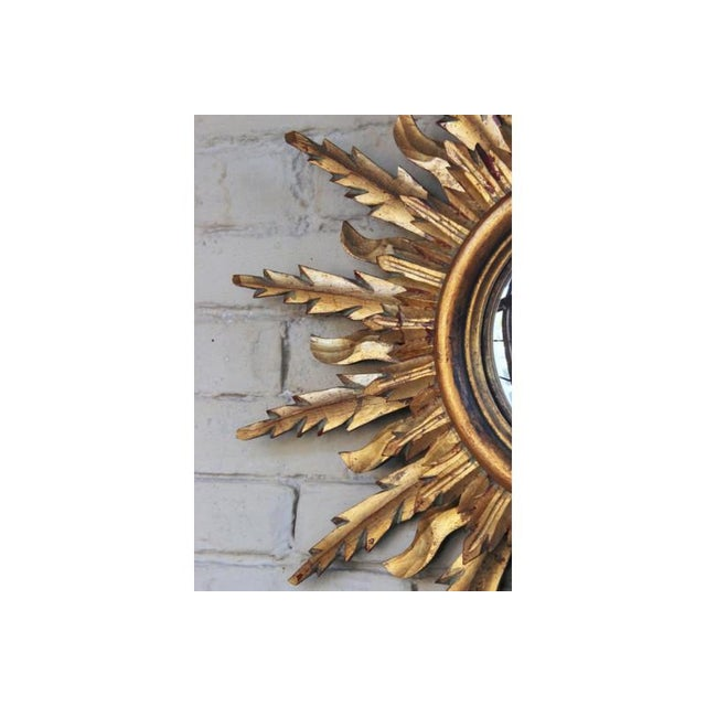 Wood Midcentury French Double Layer Sunburst Mirror With Original Mirror Glass For Sale - Image 7 of 10