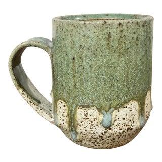 Vintage Studio Speckled Green Pottery Stoneware Mug, Signed For Sale