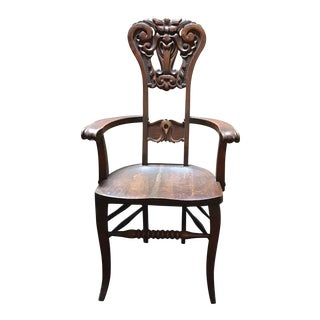 North Wind Face Carved Mahogany Chair For Sale