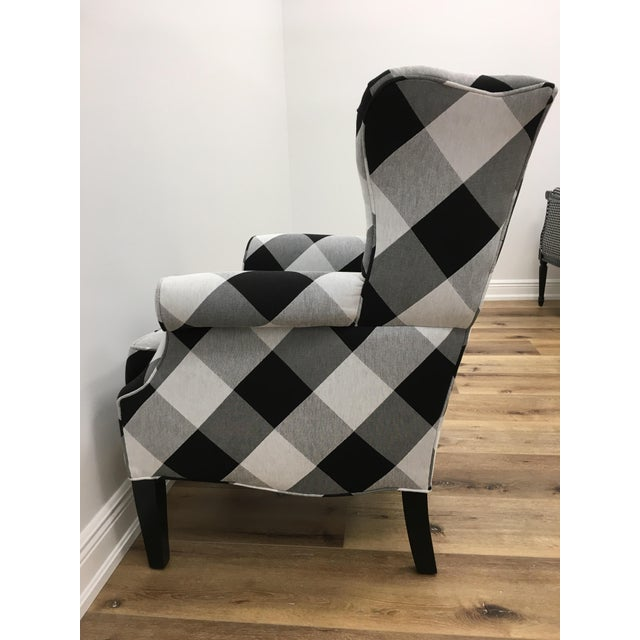 Contemporary Black and White Check Bradford Armchair For Sale - Image 3 of 5