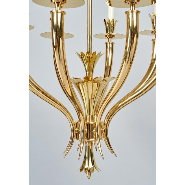 Gold Gio Ponti Important Geometric 8-Arm Chandelier in Polished Brass, Italy 1930s For Sale - Image 8 of 11