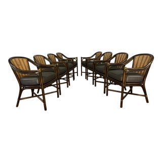 McGuire Rattan and Cane Dining Chairs With Upholstered Padded Seats - Set of 8 For Sale