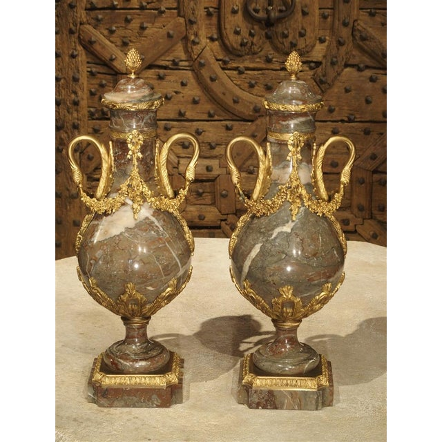 Pair of Circa 1860 Gilt Bronze and Marble Cassolettes from France For Sale - Image 11 of 11