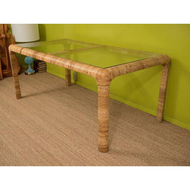 Rattan & Glass Console Table For Sale - Image 4 of 9