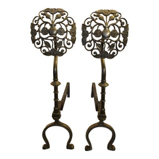 Vintage Brass Floral Andirons - a Pair For Sale