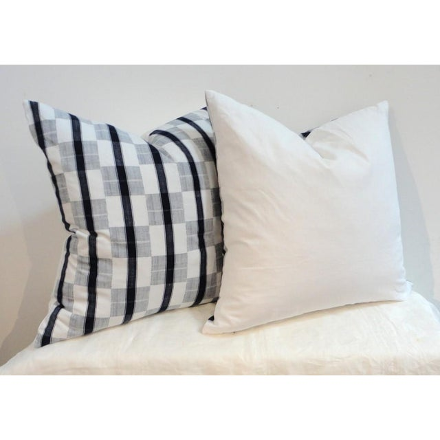 Pair of 19th Century Linen Patch Work Pillows with White Homespun Linen Back - Image 2 of 3