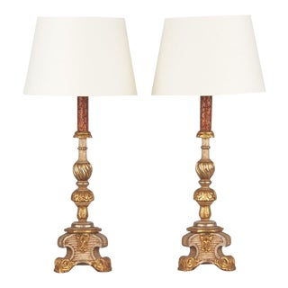 Late 19th Century Italian Painted Gilt Wooden Lamps - a Pair For Sale