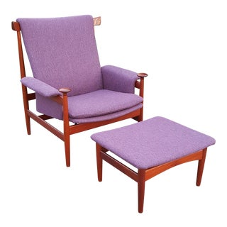 1960s Vintage Finn Juhl for France and Sons Bwana Danish Lounge Chair & Ottoman - 2 Pieces For Sale